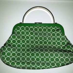 Green and White Circle Small Clutch/Hand Bag
